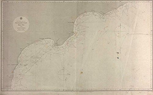 Coromandel Coast nautical sea chart. East India Company. Andhra Pradesh - 1864 - old map - antique map - vintage map - printed maps of India