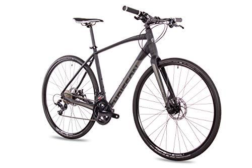 CHRISSON Bicicleta Gravel Urban Two de 28 pulgadas, color negro mate, 52 cm, con cambio Shimano Sora de 18 velocidades, bicicleta de cross para hombre y mujer