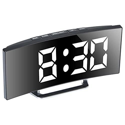 Reloj despertador digital con espejo para dormitorios, pantalla LED grande de 7 pulgadas, 2 brillo, fecha, luz nocturna, repetición, carga USB y funciona con pilas (blanco)