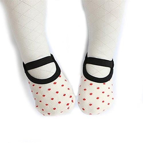 Calcetines antideslizantes para bebés y niños de 8 a 36 meses para el suelo de algodón Mary Jane blanco blanco