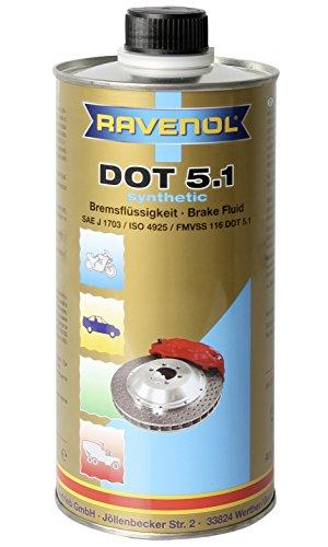 RAVENOL J3A1001 Brake Fluid - DOT 5.1 SAE J1703 Synthetic (1 Liter)