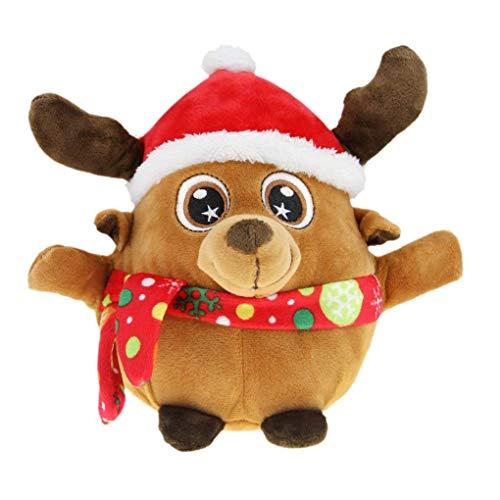 JIAHG Leuchtend Weihnachtsmann Elch Spielzeug mit Musik Kinder singende Plüschpuppe Weihnachts Spielzeug Deko, eine Kordelzug Tasche Kostenlos
