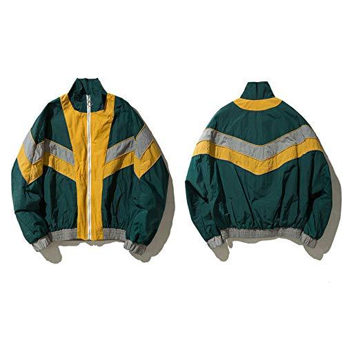 JIAKENVDE Jacke Vintage Multicolor Farbblock Windbreaker n Männer Herbst Reißverschluss Mantel Hip Hop Lässige Kontrast Track n