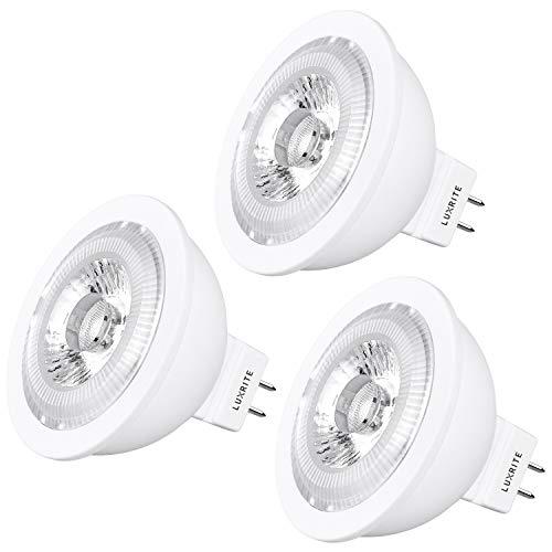 Luxrite MR16 LED Bulb GU5.3, 50W Equivalent, 12V, 2700K Warm White Dimmable, 500 Lumens, 7W LED Spotlight Bulb, 40 Degree, Energy Star & Damp Rated - Home, Landscape, and Track Lighting (3 Pack)