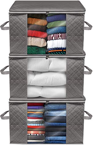 Sorbus Jumbo Storage Bag Closet Organizers with Carry Handles, for Clothes Comforters, Blankets, Bedding, Linens, Foldable, Sturdy Zippers, Clear Window, 3-Pack (Gray)
