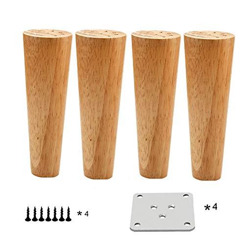 HWJ 4-delige set / meubelpoten hout / massief hout Vierkant piramide meubelpoten / hard eikenhout voor bank, salontafel, kast, bed (met montageplaat, schroeven, voetkussens