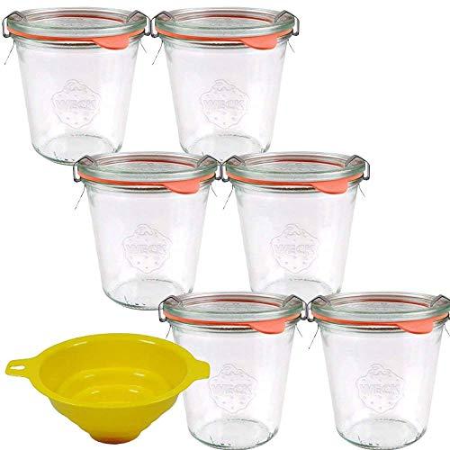 Viva Haushaltswaren - Tarros de Cristal pequeños (6 Unidades 290 ml Forma Redonda con Gomas y Cierre Incluye Embudo Amarillo con sujeción)