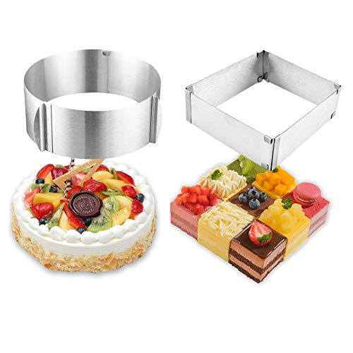 MANO 2-Piece Stainless Steel Cake Ring 6 to 12 Inch Adjustable Mousse Cake Molds Round and Square Cake Decor Baking Mold Ring Bakeware Set Tool