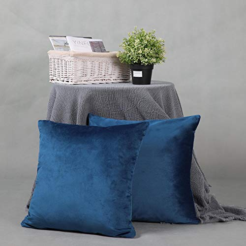 YINFUNG Navy Velvet Cushion Cover 18x18 Royal Blue Cobalt Indigo Cozy Soft Couch Throw Pillow Covers Sofa Bed Cushion Cover Living Room Decor 2 Pack