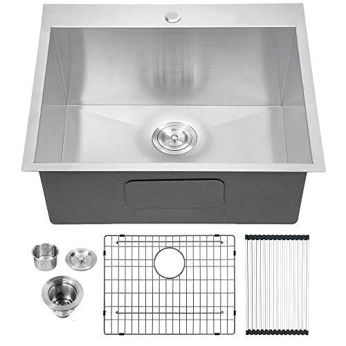 """Lordear 22""""x22""""x12"""" Deep Laundry Utility Sink Drop-in Topmount Single Bowl Sink 16 Gauge Stainless Steel Laundry Room Sinks"""