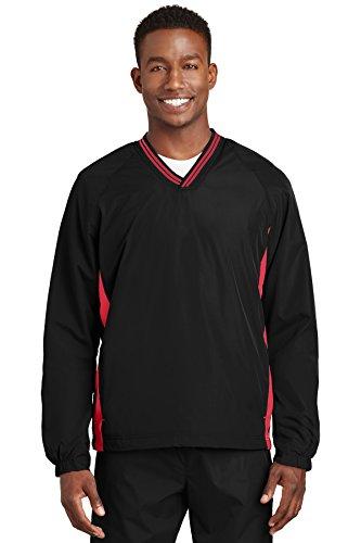 Sport – Tek à Pointe col en V Raglan Wind Chemise, Noir/True Red, L - Multicolore - Large