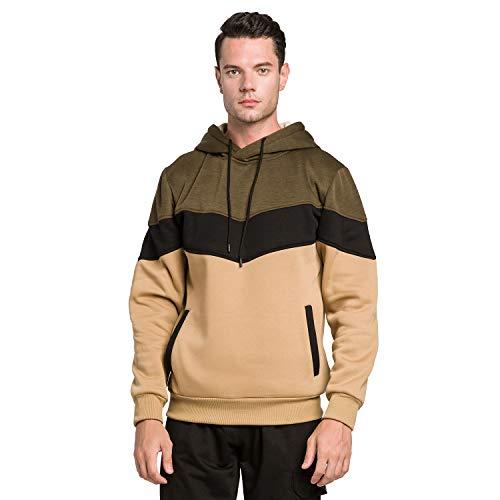 Mooncolour Mens Novelty Color Block Hoodies Cozy Sport Outwear Green Khaki