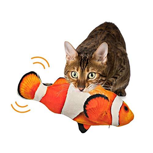 Juguetes para Gatos Juguete Gato Interactivo Hierba Gatera, Pez de Simulación de Felpa Móvil con Carga USB, Catfish Juguete Gatos Suministros Que Se Pueden Usar para Morder, Patear y Dormir… (