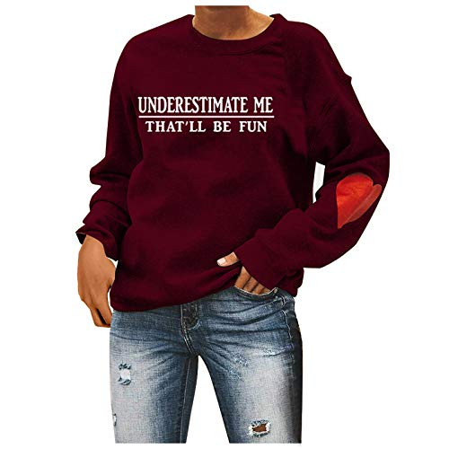 BUKINIE Damen Crewneck Sweatshirt Casual Long Sleeve Raglan Letter Print Loose Fit Cute Pullover Jumper Fall Winter Tops Gr. XXX-Large, Weinrot