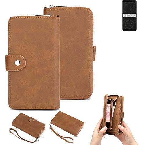 K-S-Trade Handy-Schutz-Hülle Für HTC Exodus 1 Portemonnee Tasche Wallet-Hülle Bookstyle-Etui Braun (1x)