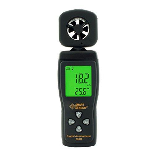 welinks Digital Hand-Windmesser, Pocket Digital Anemometer mit LCD-Hintergrundbeleuchtung, Wind Speed Meter Sprache Air Flow Geschwindigkeit Messung Thermometer for Measuring Wind Speed, Temperatur und Wind Chill