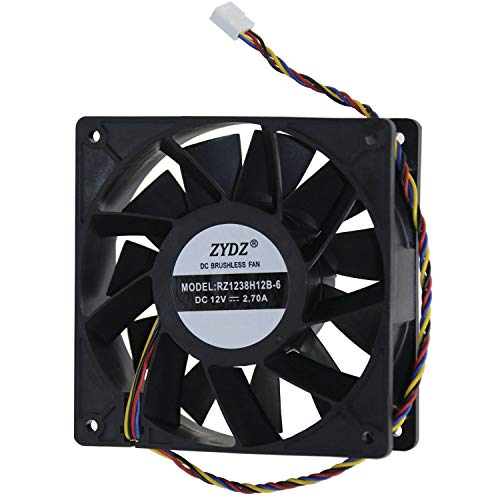 Ibest imPetus 4500 RPM 4-Pin Fan for AntMiner D3/L3+/S9/T9/S17 with Works for All Bitmain, Also Works for GPU Miners, AsicMiner Misieren BRUSHLESS, PC Computer High CFM Cooling Case Fan (120mm,Black)