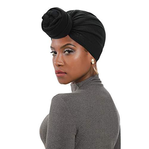 Womens Black Head Scarf Turban African Headbands Head Wrap for Black Women Hijab Scarfs Scarves Black2