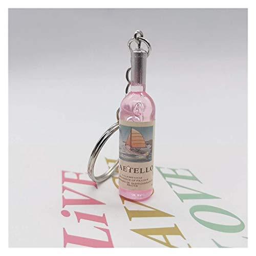 Srfghjs Llavero Cute Botella de Vino de la Novedad de la Resina de la Cerveza Llavero Surtido de Colores for el Bolso de Las Mujeres de los Hombres del Coche Llavero Colgante (Color : Pink)