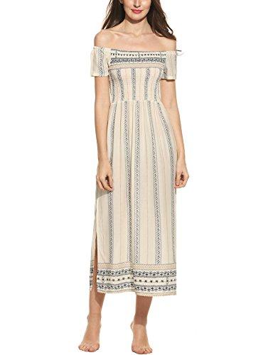 Zeagoo Damen Elegant Sommerkleid Strandkleid Maxikleid Schulterfrei Boho Kleid mit Schlitz Langes Abendkleid