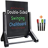 Swinging Chalkboard Message Sidewalk Sign: 24' x 36' Black Sign Board & 4 Liquid Chalkboard