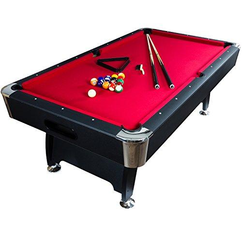 """Maxstore 8 ft Billardtisch Premium"""" + Zubehör, 9 Farbvarianten, 244x132x82 cm (LxBxH), schwarzes Dekor, rotes Tuch"""