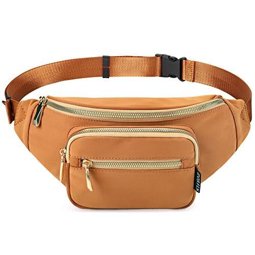 ZORFIN Fanny Packs for Women Men Fashion Belt Bag for Disney Travel Running Walking Hiking (Brown)