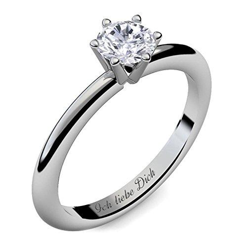 Verlobungsring Silber Ring Damen Silber 925 Zirkonia Stein mit GRAVUR & ETUI-BOX Silberring Frau Verlobungsringe Damenring rhodiniert Echt Schmuck Antragsring AM195SS925ZI60