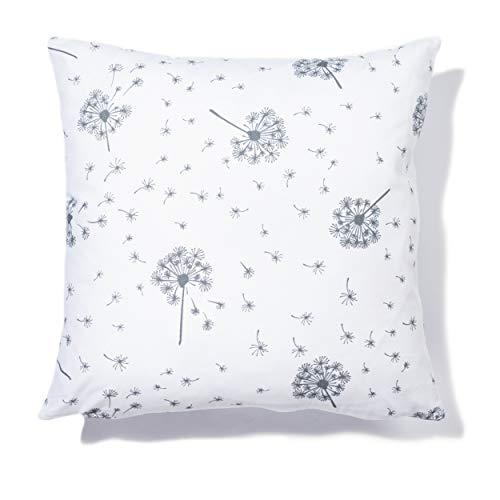 Amilian Dekokissen mit Füllung Kissen 40x40 Kopfkissen für Baby Kinder mit Reißverschluss Bezüge 100% Baumwolle Muster: Pusteblume Weiß