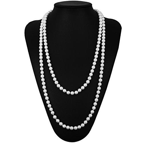 KaKaxi 1920s accessories Set Headband,Necklace,Gloves,Cigarette Holder (L)