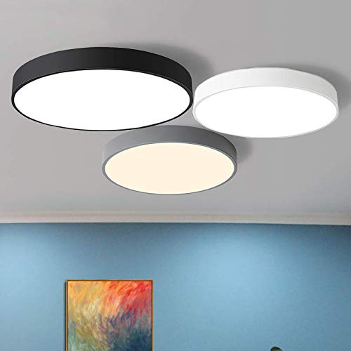 18W LED Deckenleuchte Deckenlampe warmweiß 3000k ultra dünne Leuchte für Küche Diele Flur Schlafzimmer, 30 * 30 * 5cm (Schwarz)