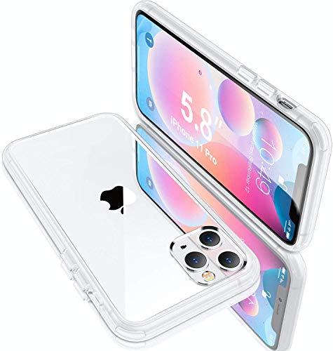 Humixx Kompatibel mit iPhone 11 Pro Hülle,Transparent Handyhülle [Military Grade Drop Tested] PC Rücksei mit TPU Weiche Rahmen Hardcase,Anti-Kratzen,Anti-Fingerabdruck,Anti-Fall Clear Hülle