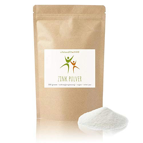 Zink Pulver - 100 g - (Citrat, Trihydrat) - Zinkgehalt 31% - 100% vegan - Produktionsfrishe Ware in Lebensmittel-Qualität - glutenfrei - laktosefrei - OHNE Hilfs- u. Zusatzstoffe