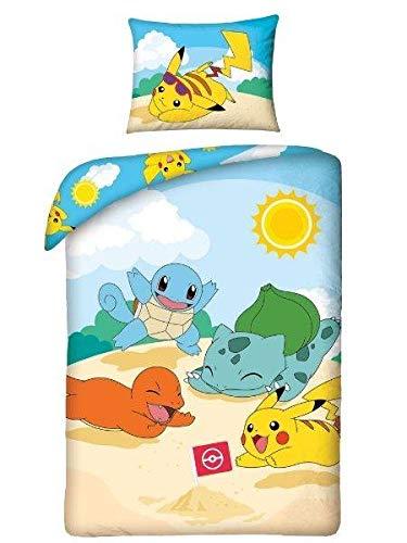 Halantex Juego de cama Pokemon Pikachu para niños, 2 piezas, cama de 140 x 200 + 70 x 90 cm, funda de almohada beige, azul, amarillo, algodón Öko-Tex