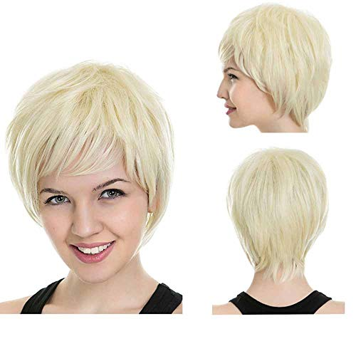 Cosplay Pruiken for Women Short Hair Goedkope Fancy Dress Unisex kleurrijk kostuum Partij Volledige Head WIG Bleach Blonde