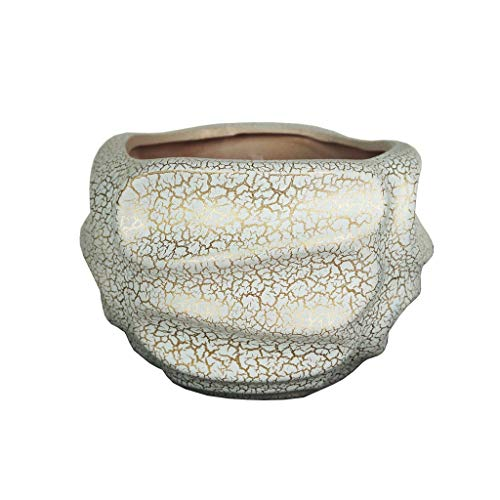 5,51 Pulgadas de Alta cerámica Maceta de cerámica jardín al Aire Libre Patio casa Mesa de café decoración de Oficina imitación Agrietada Maceta Maceta (Color : Gold)