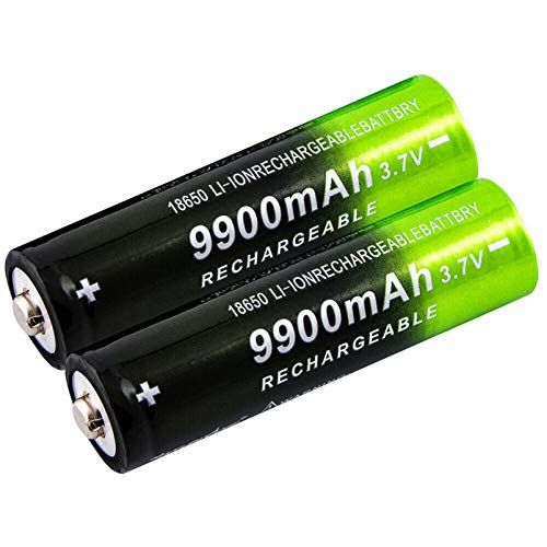 2 Pack Rechargeable Batteries, 3.7V Li-ion, Button Top 9900mAh Battery, for 18650 Flashlight Headlamp, Size:18x65mm