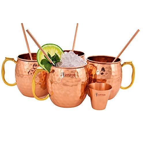 Craft Trade 4 Stück Moscow Mule Bierkrug Becher aus gehämmertem Kupfer - Beste für Partys, Barware-Combo mit Glas -530ml