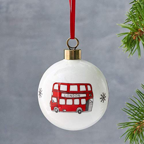 Simply London Bus Christmas Ornament/Bauble - Made in Britain of Fine Bone China