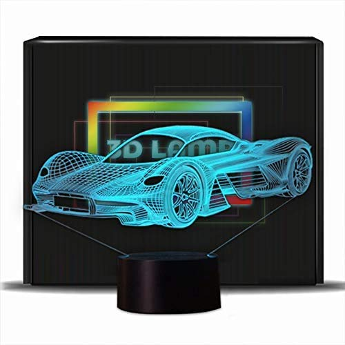 iwish 3D LED Night Lamp 7 Colors Changing Magical 3D Illusion Lamp for Kids Room Home Decoration (Race Car)