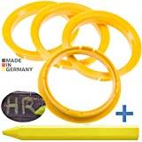 RKC 4X Anelli di centraggio Giallo Chiaro 74,1 mm x 65,1 mm + 1x Pastello per Gomma e Pneumatici in Verde Prodotto in Germania