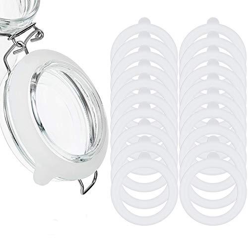 fanshiontide 20 Stück Silikonglasdichtungen Ersatz-Gummidichtungsringe Auslaufsichere Befestigungsdichtungen für normale Munddosen, 3,75 Zoll(white)