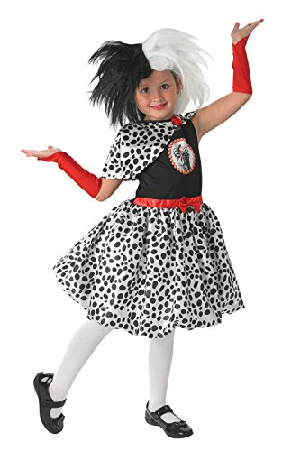 Rubies - Peluca infantil oficial Disney de Cruella de 101 Dálmatas