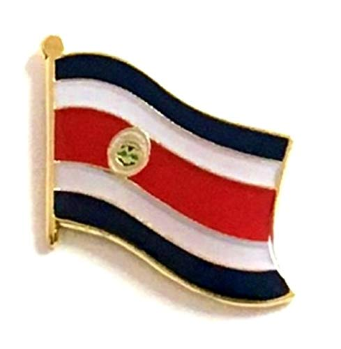 International Waving World Flag Lapel Pin Badge; One Patriotic Country Hat Lapel Pin (Costa Rica)