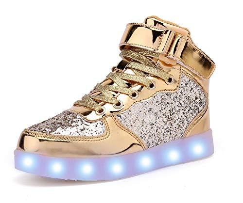 adituob Kinder LED Schuhe - Licht Auf Casual Schuhen Mode Atmungsaktives Mesh Blinkende Turnschuhe Ausbilder Outdoor Schuhe Für Die Jungen Mädchen Gold33