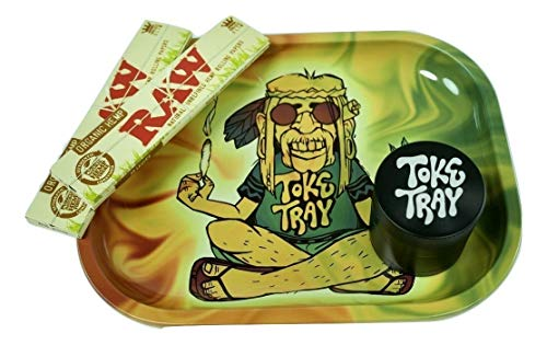 Rolling Tray Bundle with Grinder | Set Includes - Trippy Hippie Metal Tray, 2 Packs Raw King Size Slim Rolling Papers & 4-Piece Zinc Grinder