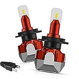 Bombillas de faros LED H7, Mesllin 10,000 lúmenes Chips CSP Luz Auto Kit de conversión de faros delanteros 6500K Reemplazo de halógeno blanco