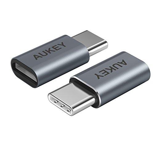 AUKEY USB C auf Micro USB Adapter ( 2 Stücke ) USB Type C Konverter Alulegierung für Samsung Galaxy S8 / S8+, Lumia 950 / 950XL , OnePlus 2 / 3 , Nexus 5X / 6P , Nokia N1 Tablet und viele mehr
