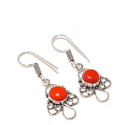 Shivi ¡Mejor diseño ¡Gemas de Coral Rojo Pendientes Colgantes de 1.5