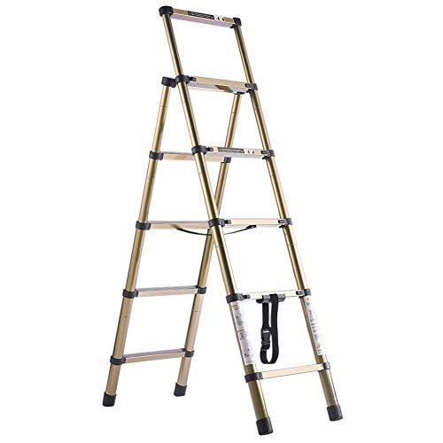 Escaleras Plegables Escalera telescópica portátil con escalones anchos y pasamanos, Escaleras de aluminio altas y ligeras de 5 escalones para interior al aire libre, Soporte 200 Kg
